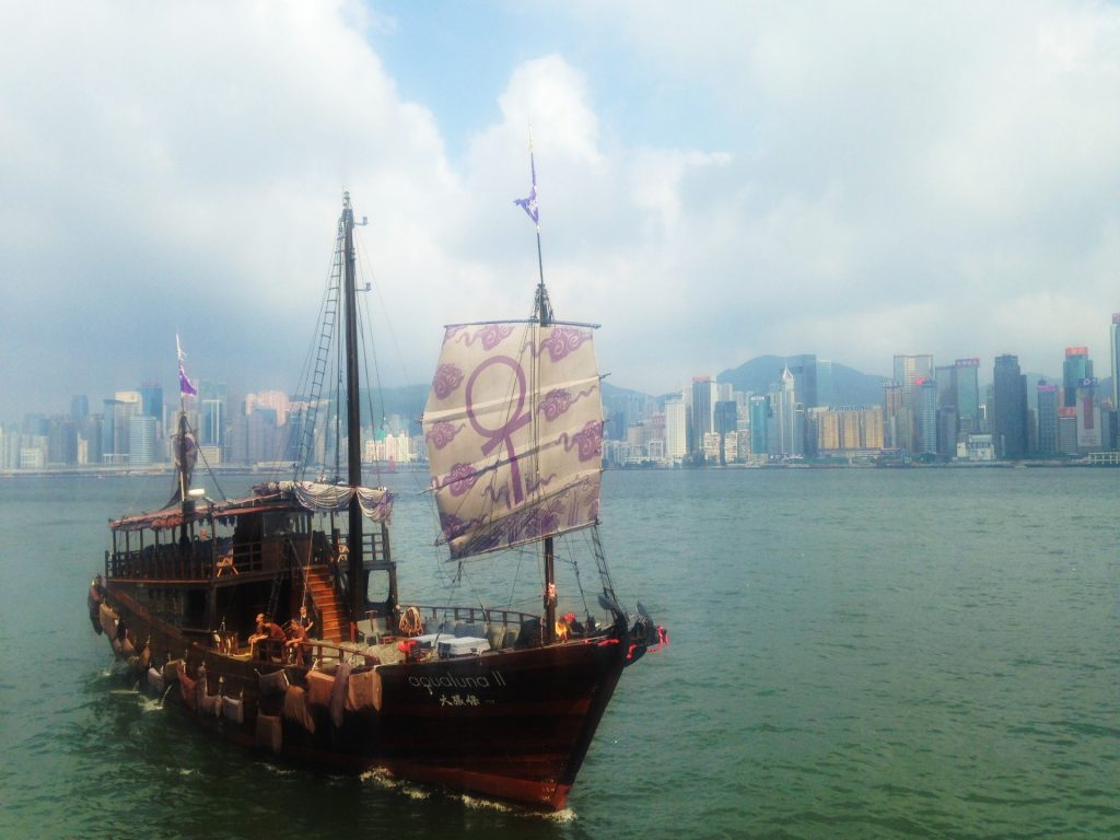 A Junk in Victoria Harbour, Hong Kong