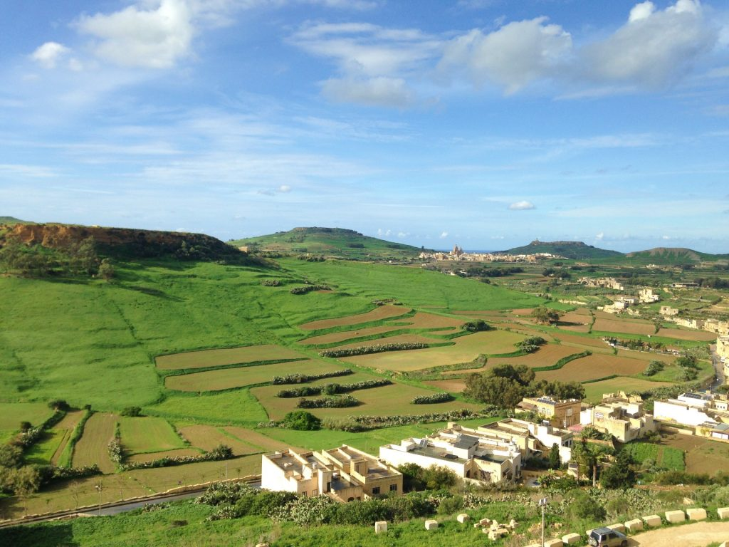 Views over the fields from the Citadel in Gozo