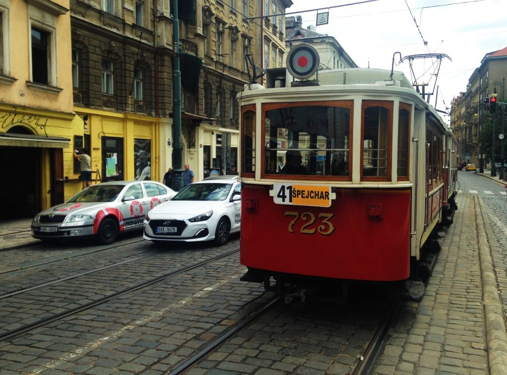 A tram in Prague - How to travel cheap in Europe!
