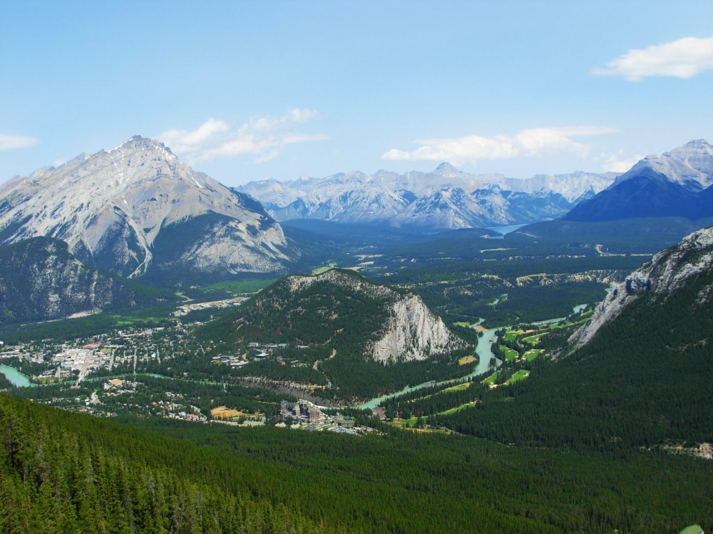 The view over Banff in Canada from Sulphur Mountain
