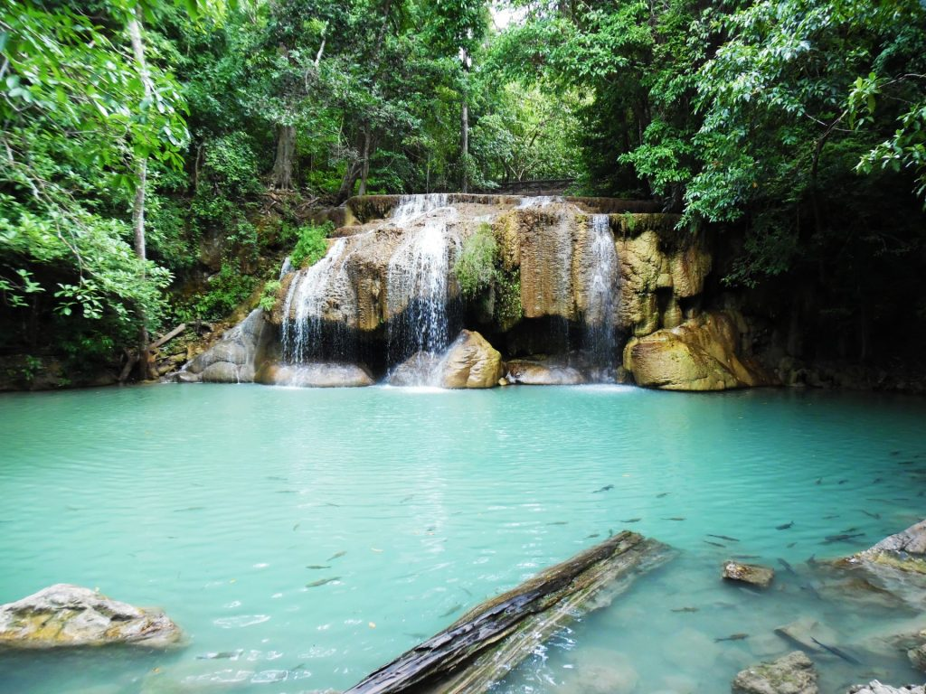 Erawan Waterfalls in Thailand - One of the best bucket list things to do in Southeast Asia!