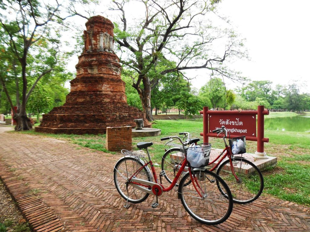 Cycling around the ancient city of Ayutthaya in Thailand