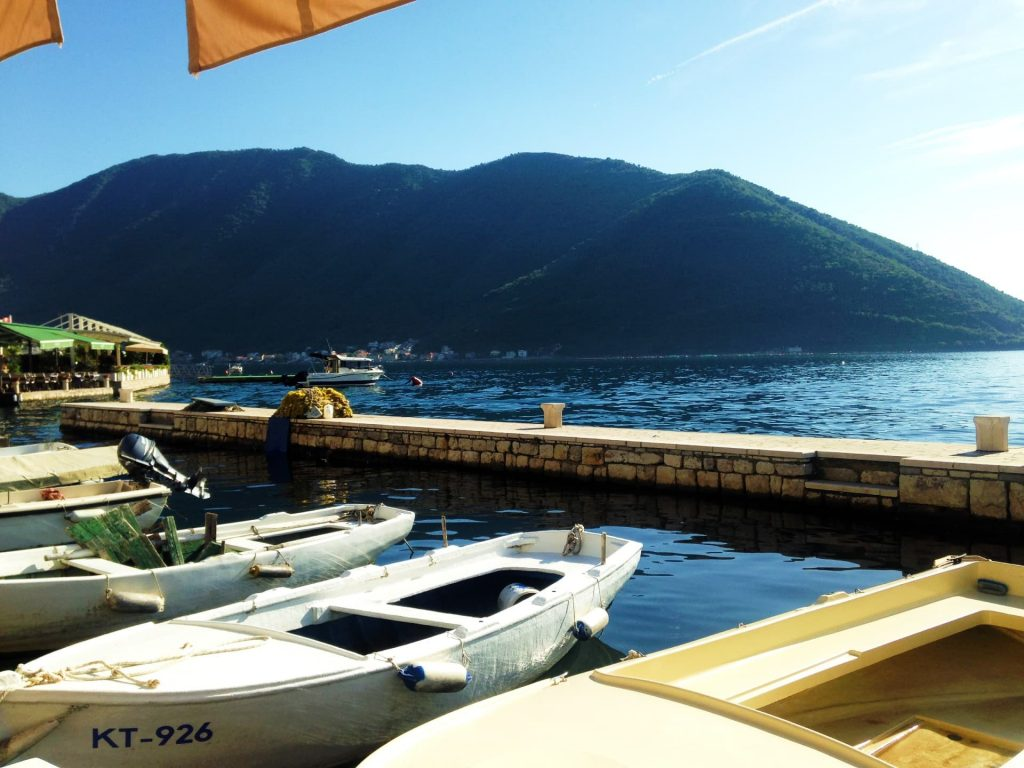 The waterfront in Perast, Montenegro