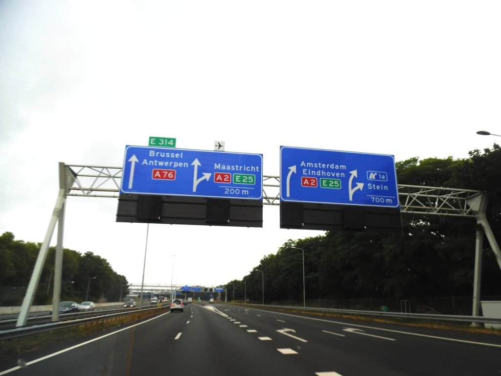 Road signs in Germany, heading towards Brussels