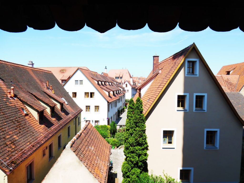 The view over Rothenburg ob der Tauber from the city walls walk