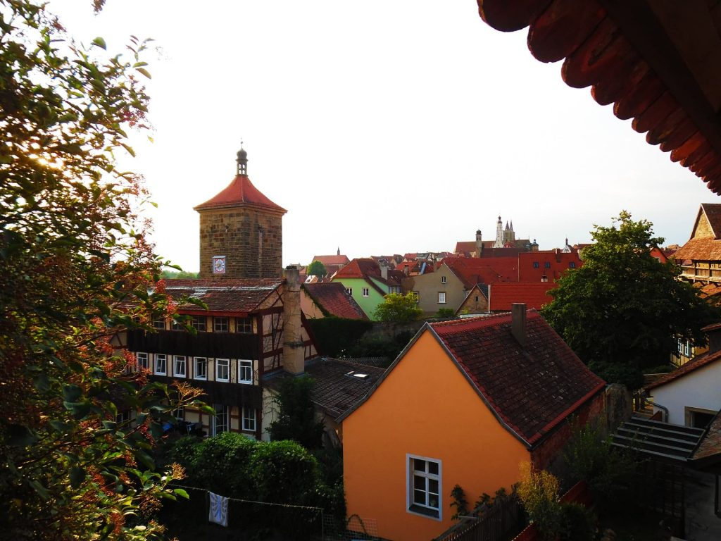 The view over Rothenburg ob der Tauber from the city walls walk at dusk
