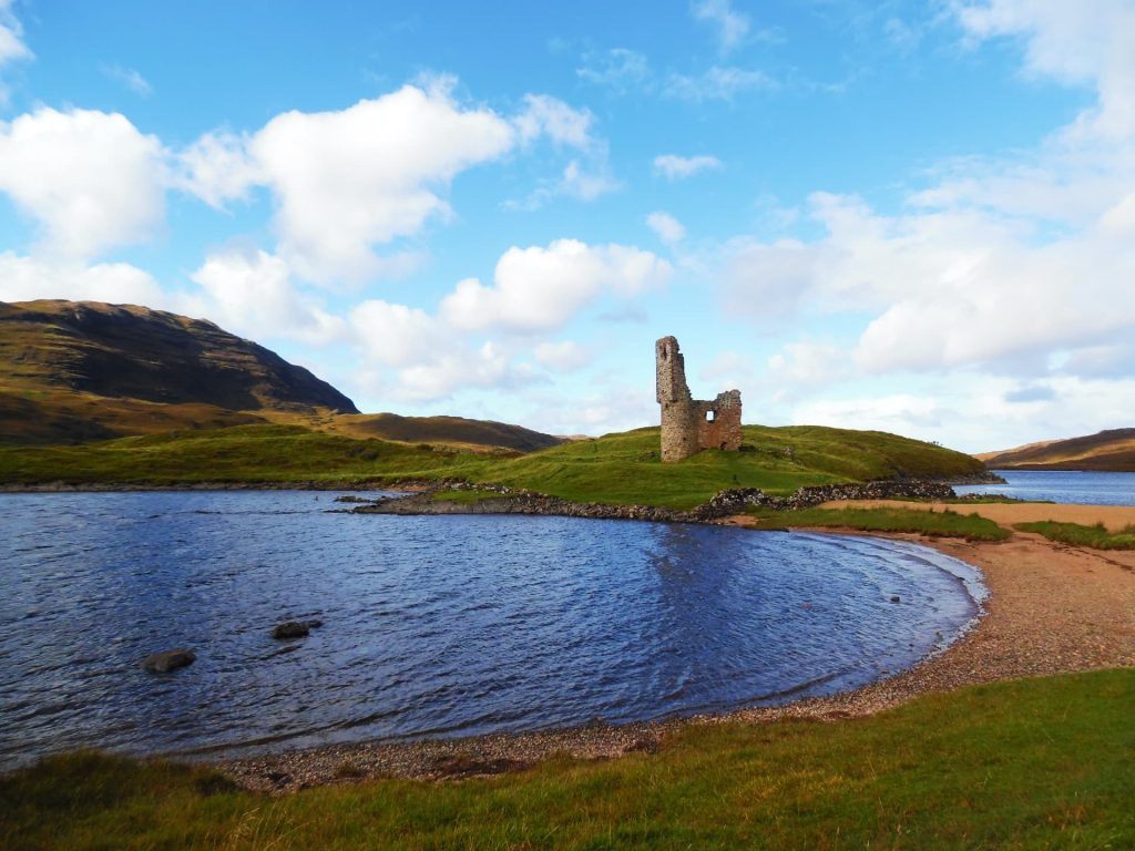 Ardvreck Castle on the shores of Loch Assynt, Scotland
