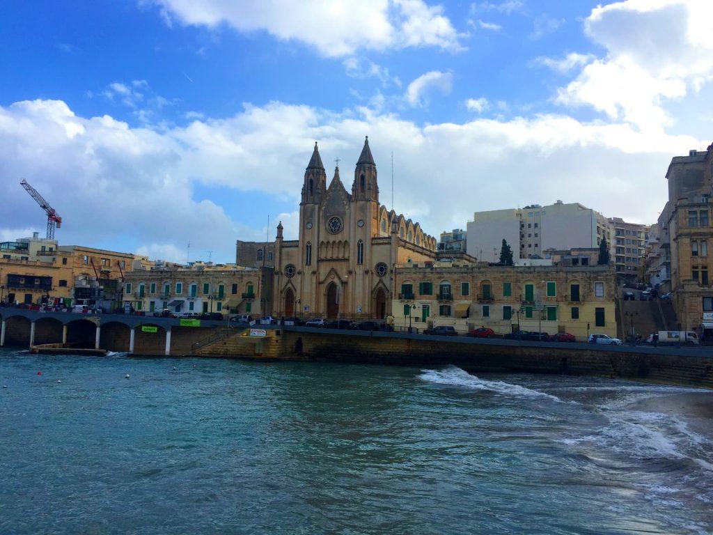 The Carmelite Church in Balluta Bay, St Julians, Malta