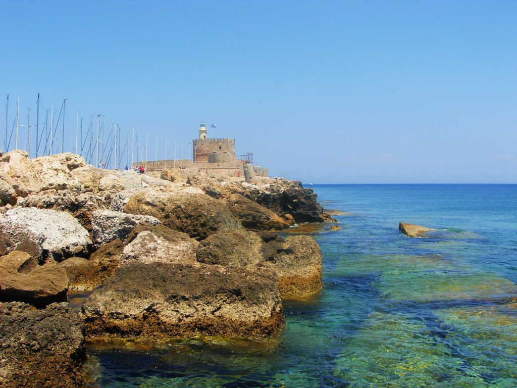 Mandraki Harbour in Rhodes, Greece