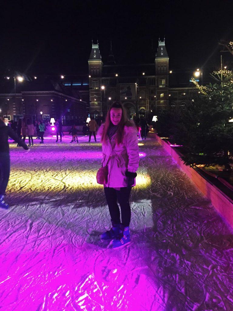 Ice skating at the Rijksmuseum in Amsterdam